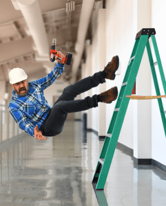 Worker falling off a Ladder - Ladder Safety Training - LMS